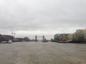 Distant view of Tower Bridge.